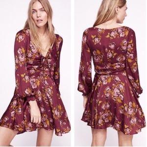 Free People NWOT purple floral Long Sleeve Dress